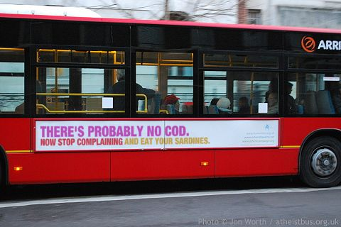 Atheist cod bothering bus advert