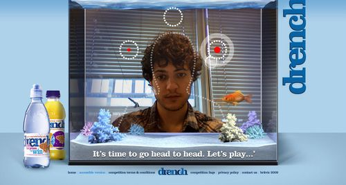 Drench augmented reality webcam game, burst the bubbles with your head