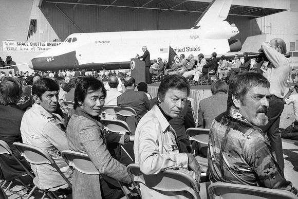 Star trek crew at launch of shuttle enterprise