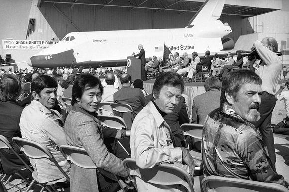 Star trek crew at launch of shuttle enterprise